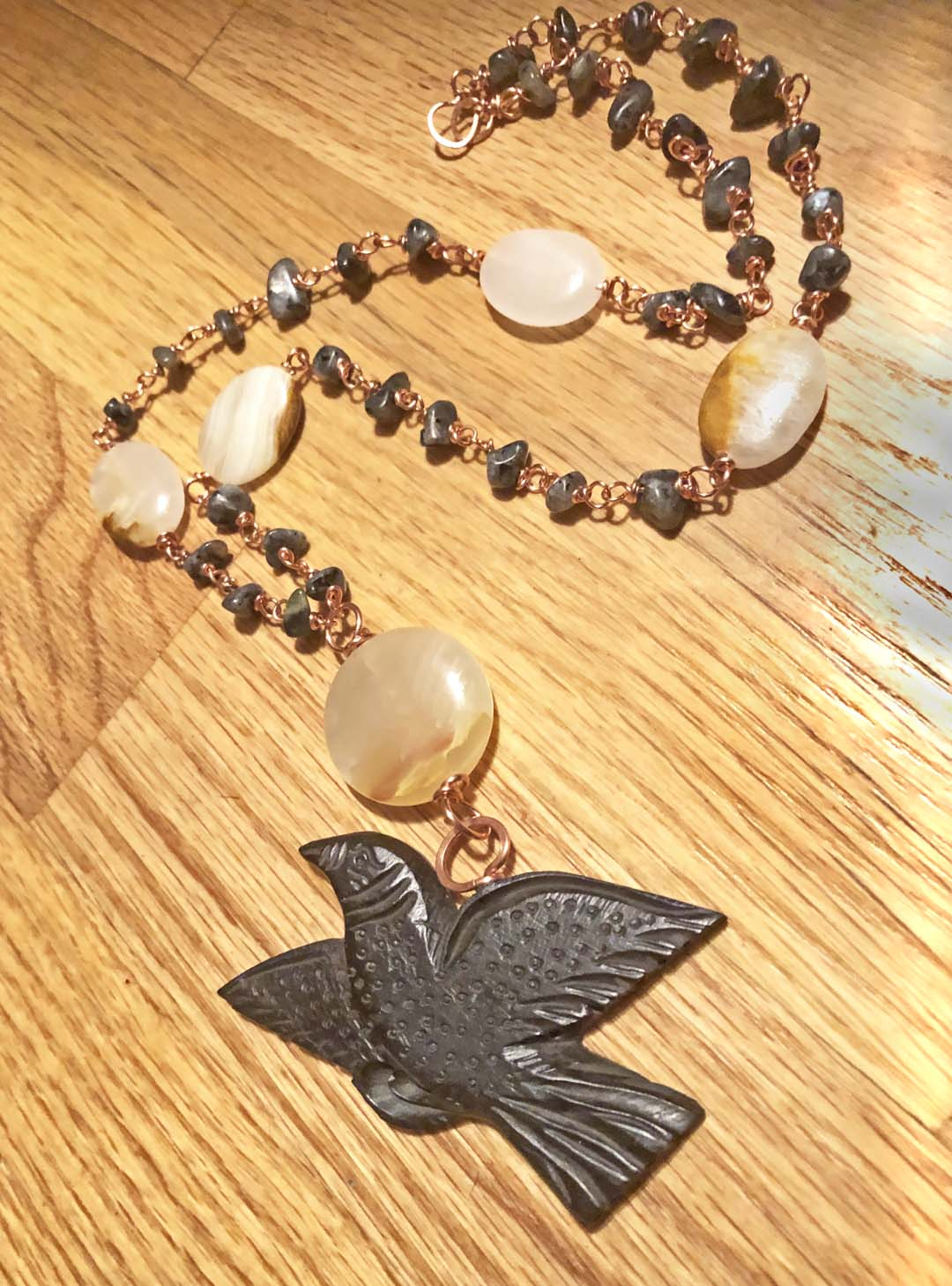 Wisdom of Night Larvikite Raven Necklace